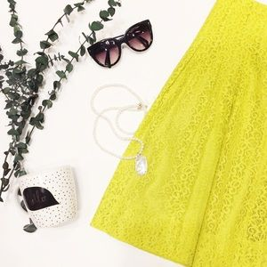 Neon Green Lace Skirt Size 6
